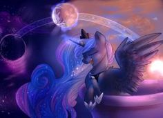 """it was basically like """"draw Luna from MLP but in your style, whatever that will look like"""" so that was a LOT of fun! Princesa Celestia, Celestia And Luna, Mlp My Little Pony, My Little Pony Friendship, Dark Side, Nightmare Moon, Little Poni, Mlp Fan Art, Fanart"""