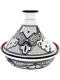 Le Souk Ceramique Cookable Tagine, 12-Inch, Black and White Sabrine Design ❤ Le Souk Ceramique