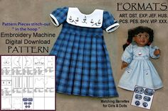 PATTERN--(Embroidery Machine Download)  American Girl Doll Dresses - Cute Sailor Dresses with Sailboats!    ♥♥ PLEASE READ ♥♥ (This not a