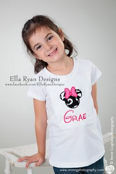 """My baby girl modeling. Pic taken by me! :) (Obviously her name is not """"Grae"""" LOL) Minnie Appliqued TShirt by EllaRyanDesigns on Etsy @Amanda Williams"""