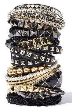 Gold and Black Bracelet Stacks