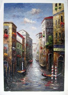 "24"" by 36"" - Venice scene - Nr.032 - Museum Quality Oil Painting on Canvas Art by Artseasy on Etsy"