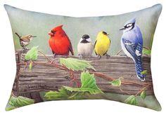 """THROW PILLOWS - """"FEATHERED FRIENDS #1"""" BIRD PILLOW - 18"""" x 13"""" - INDOOR OUTDOOR"""
