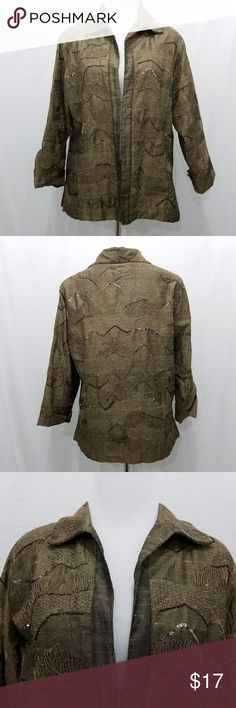 Chicos Size 2 Brown Jacket Embellished M L Artsy Brand: Chico's  Color: Brown  Tag Size: Chico's size 2 / Medium  Bust: 40 inches  Sleeve Length: 21 inches  Length: 25 inches  Materials: silk blend  Care Instructions: dry clean only Chico's Jackets & Coats