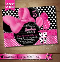 HUGE SELECTION Light Pink Minnie Mouse Printable Birthday Party Invitation, Minnie Mouse Party Printables, DIY Pink Polka Dot Minnie Mouse