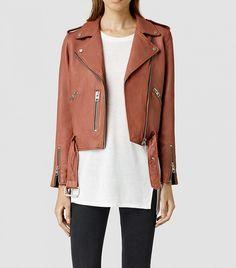 Allsaints Wyatt Leather Biker Jacket in Rose // Pink leather moto jacket