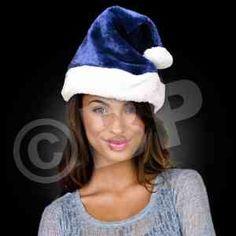 Santa hats fun hats blue plush plush navy plush band plush santa