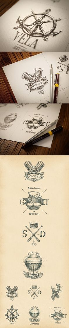 "Unknown designers, great handmade logos. Beautifully crafted ""old school"" style. #oldschoollogos"
