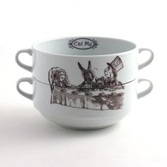 Alice in Wonderland Two Cereal Bowls Porcelain Tea Party Soup Mugs Stacking Couple Two Handles Whimsical Literature English on Etsy, $35.16