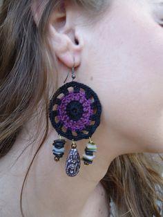 Purple Dream crochet earrings