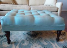Quirks and Progress: How to Make an Ottoman Diy Storage Ottoman Coffee Table, Diy Ottoman, Tufted Ottoman, Upholstered Furniture, How To Make Ottoman, Living Room Upgrades, Wood Sofa, Repurposed Furniture, Home Living Room