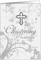 Christening Invitation With Cross And Faded Butterflies And Flowers card