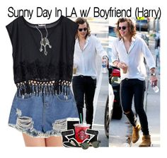 """""""Sunny Day In LA w/ Boyfriend (Harry)"""" by fangirl-1d ❤ liked on Polyvore featuring Honeydew Intimates, Victoria's Secret, CHARLES & KEITH, Ray-Ban and Jade Jagger"""