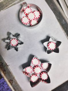 Peppermint Candy Christmas Ornaments Line pan with parchment paper. Place candy in cookie cutters. Bake 350 - 10 to 15 min. Remove when candy is melted together. Spray toothpick & make hole in candy. When hard, remove cutters.