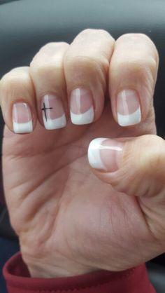 Easter Christian cross finger nails
