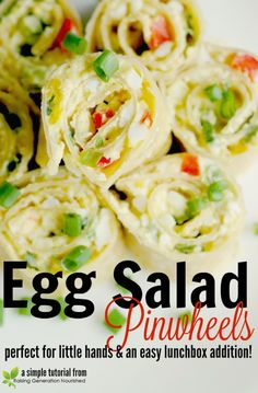 Egg Salad Pinwheels :: Perfect For Little Hands & An Easy Lunchbox Addition! salad Egg Salad Pinwheels :: Perfect For Little Hands & An Easy Lunchbox Addition! Appetizer Recipes, Snack Recipes, Healthy Recipes, Salad Recipes, Cold Appetizers, Gluten Free Pita Bread, Pinwheel Sandwiches, Pinwheel Appetizers, Real Food Recipes