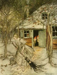 """What did she find there but real ripe strawberries."" Illustration by Arthur Rackham from Grimm's Fairy Tales, The Three Little Men in the Wood. Edmund Dulac, Arthur Rackham, Art And Illustration, Book Illustrations, Brothers Grimm Fairy Tales, Grimm Tales, Gebroeders Grimm, Illustrator, Charles Perrault"