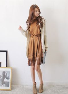 All Korean Fashion items Up to 70%OFF! #dress #fauxsuededress #fringehemdress #koreanfashion #kfashion