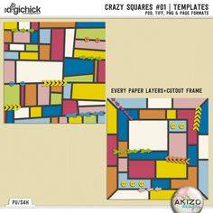Crazy Squares #01 | Templates by Akizo Designs. NOw on sale at The Digichick for less 30%