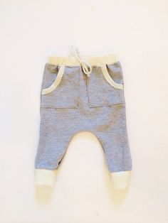 Unisex harem jogger pants in grey and creme on Etsy, $44.00