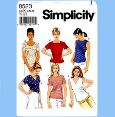 499 Simplicity 8523 Set of Womens Pullover Tops Shirt Blouse size 14 16 18 Bust 36 38 40 Average to Plus Size Sewing Pattern by ladydiamond46 on Etsy