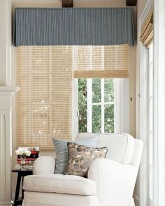 Linen box pleat valance with bead trim for hallway window for Smith and noble bamboo shades
