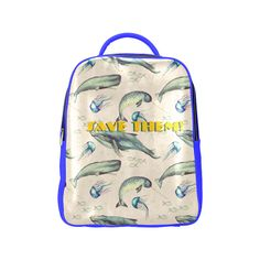 PiccoGrande`s Save The Ocean white-blue-whale Popular Backpack (Model Popular Backpacks, Blue Whale, Octopus, Laptop Sleeves, Underwater, Pu Leather, Back To School, Casual Outfits, Ocean