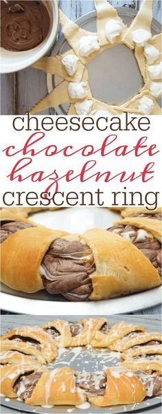 Chocolate Hazelnut cheesecake crescent ring recipe   crescent roll recipes   recipes with crescent rolls   crescent roll desserts   hazelnut recipes   hazelnut desserts