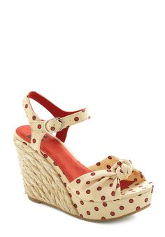 Parlor by the Pier Wedge by BC Shoes - Cream, Red, Polka Dots, Bows, Wedge, High, Braided, Daytime Party, Beach/Resort, Spring, Summer