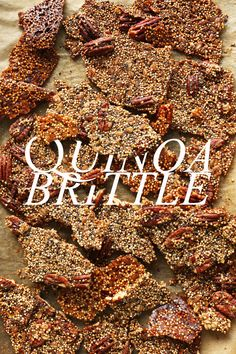 QUINOA BRITTLE! 325 15min •1/2 cup (92 g) uncooked white quinoa •3/4 cup (75 g) pecans, chopped •1/4 cup (22.5 g) rolled oats •2 Tbsp (24 g) chia seeds •2 Tbsp (24 g) coconut sugar •optional: pinch sea salt •2 Tbsp (30 ml) coconut oil •1/2 cup (60 ml) maple syrup