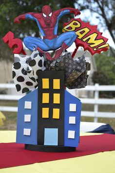 Spider man, Hand made Center Piece with Styrofoam character and foami building. $18.99