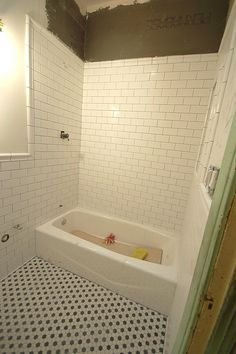 Find This Pin And More On Master Bathroom Inspiration Tile Height And Chair Rail Edging