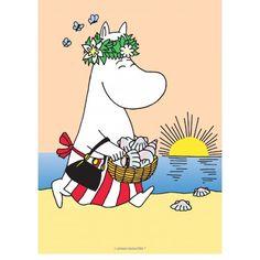 Muumit kakkukuva - Niiskuneiti rannalla - Syötävä kakkukuva kakkuun Tove Jansson, Beach Tumblr, Moomin Mugs, Acrylic Art, Cartoon Images, Troll, Pencil Drawings, Feelings, Wallpaper