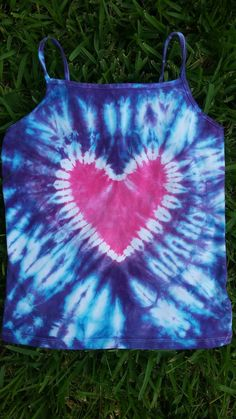 10/12 Large Girls Hot Pink and Purple Tie Dye Spaghetti Strap Tank Top. Pink Heart and Purple background. by CoconutCutiesTieDye