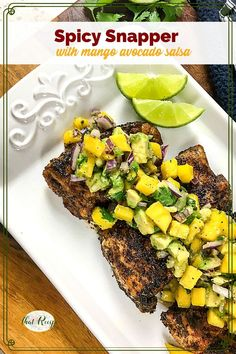 Need a quick healthy meal idea? Spicy Snapper with Mango Avocado Salsa is a healthy and flavorful dish that can be ready in under 30 minutes. #weeknightdinner #easyrecipes #fishrecipes #healthydinner #meatlessmeal #lentenmeal Easy Fish Recipes, Great Recipes, Mango Avocado Salsa, Quick Healthy Meals, Recipe Please, Stuffed Jalapeno Peppers, Spicy