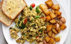 <p>This tofu scramble features two different kinds of mushrooms, plenty of greens, and other fresh produce to make it a flavorful experience. </p>