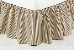 Chocolate Ticking Bed Skirt