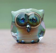 Yoda Owl bead. Handmade lampwork glass bead owl pendant.