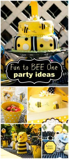 "Such a cute ""Fun to BEE One"" first Birthday party! It had a DIY chili bar, lemonade and fun party games! See more party planning ideas at CatchMyParty.com!"