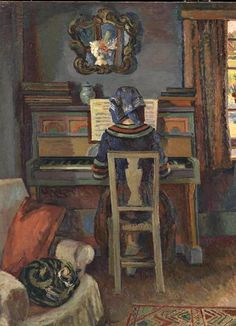 Girl at the Piano, Duncan Grant - 1940 (Duncan James Corrowr Grant (1885-1978) was a British painter and designer of textiles, pottery, theatre sets and costumes.