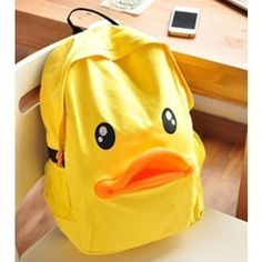 How cool is this?? Cute Leisure Duck Shape Canvas Backpack