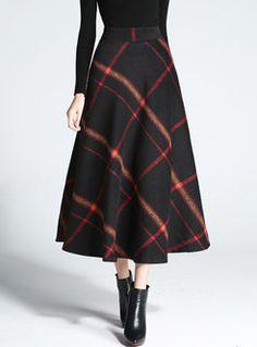 Nantersan Women's Flare Long Plaid Skirt Autumn Winter Warm High Elastic Waist Maxi Skirt A-line Plaid Skirts Wool Skirts, Plaid Skirts, Skirt Fashion, Fashion Dresses, Long Plaid Skirt, Pencil Skirt Outfits, Pencil Dresses, Pencil Skirts, Maxi Dresses