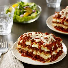 Learn how to make Three Cheese Beef Lasagna . MyRecipes has tested recipes and videos to help you be a better cook Lasagna No Meat Recipe, Tasty Lasagna, Meat Lasagna, Lasagna Rolls, Homemade Lasagna Recipes, Lasagne Recipes, Pasta Recipes, Bbc Good Food Recipes, Snack Recipes
