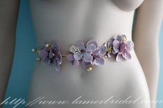 Rhinestones on Hand Cut Purple Fabric Flowers Adorning by LAmei