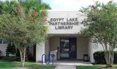 Egypt Lake Partnership Library is a branch location of the Tampa-Hillsborough County Public Library in Hillsborough County, Florida. Library Locations, Egypt, Public, Florida, Outdoor Decor, The Florida