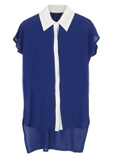 #Navy and White Lapel Short Sleeve High-low Chiffon Blouse  chiffon blouse#2dayslook #new #chiffonfashion  www.2dayslook.com
