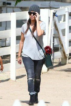 Kourtney Kardashian wearing Celine Mini Boston Bag in Dark Green. Kourtney Kardashian Reyes Adobe Farm March 29 2014.