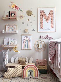 Girl Bedroom Walls, Big Girl Bedrooms, Girl Room, Bedroom Decor, Rainbow Bedroom, Rainbow Nursery Decor, Playroom Decor, Kids Room Design, Nursery Wall Art