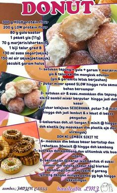 Donuts Baked Donut Recipes, Baked Donuts, Cake Recipes, Snack Recipes, Dessert Recipes, Cooking Recipes, Desserts, Doughnuts, Resepi Donut