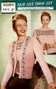 "PDF Knitting Pattern for a stunning 1940s Fair Isle Twin Set 34"" to 39"". Instant Download"
